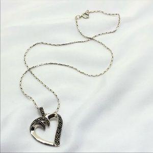 🆕Vintage Sterling Marcasite Heart Necklace